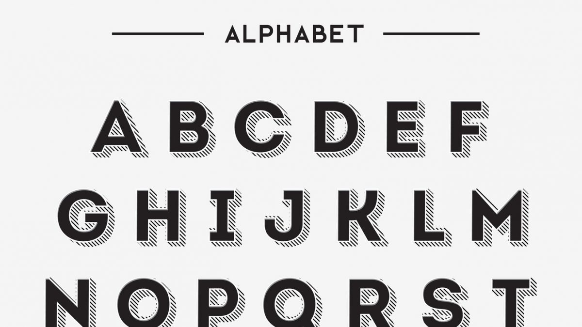 Graphic Retro Letters set Typography : the psychology of typeface. Aesthetic text, Cognitive science and the emotional art of fonts.