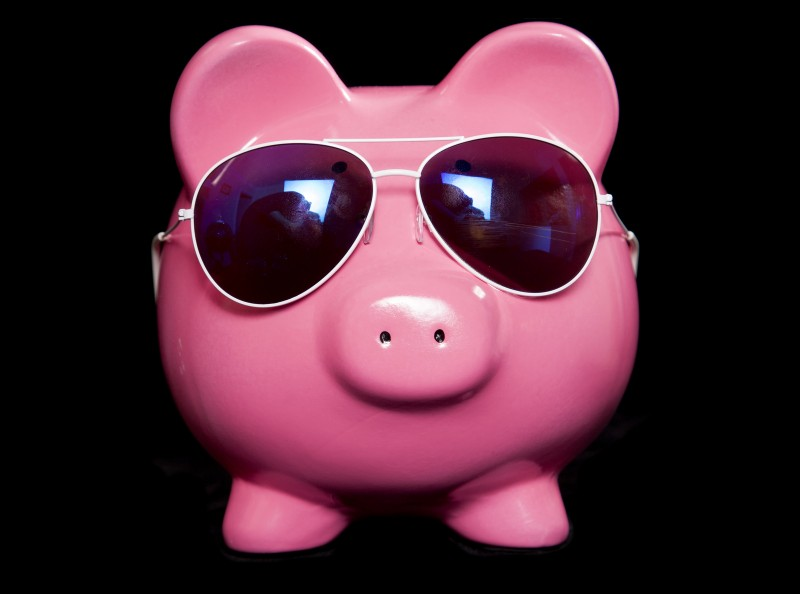 Piggy bank wearing retro sun glasses Sharp marketing tips for small budgets - from SEO through PPC and AdWords, Networking off and online, like forums and events, blogging and social media. Rachel Sutton. Happy Creative.