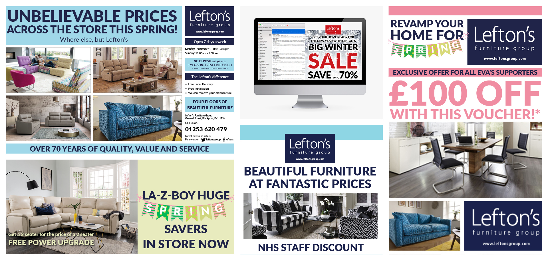 Lefton's Furniture branding materials