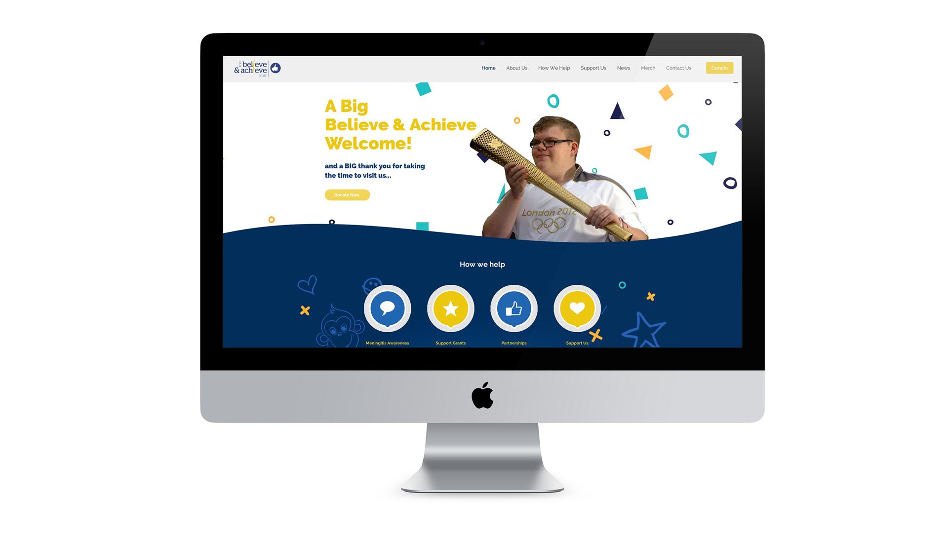 Believe & Achieve Website design shown on mac