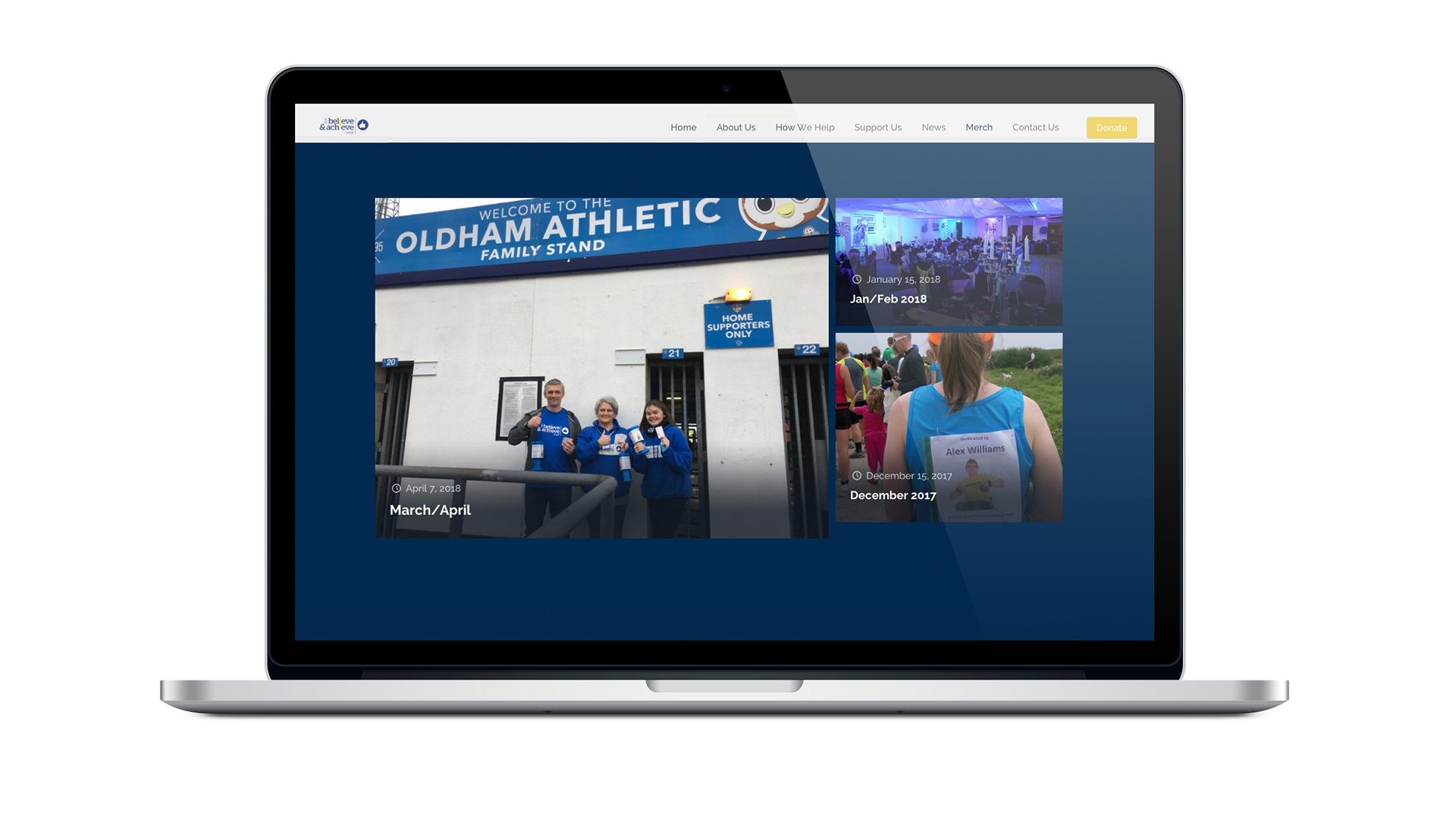 Believe & Achieve website design shown on laptop device